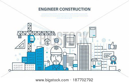 Engineer working construction in line with global construction environment around the work site. Engineer and construction worker. Illustration thin line design of vector doodles