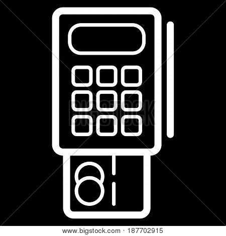 Credit card terminal vector icon. Black and white terminal illustration. Outline linear banking icon. eps 10