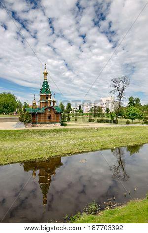 Slutsk, Belarus - May 20, 2017: Varvarinsky Chapel In The Center Of Slutsk.