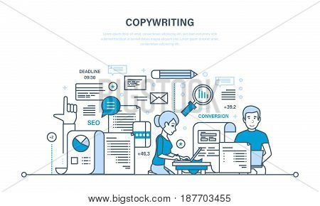 Copywriter and copywriting. Creative writing of articles and information, seo website promotion, work in office and freelance. Illustration thin line design of vector doodles, infographics elements.