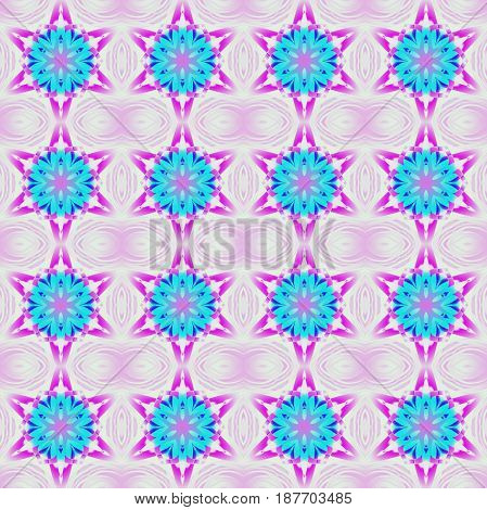 Abstract geometric seamless background. Regular stars pattern turquoise blue, violet, purple and dark blue on pastel violet.