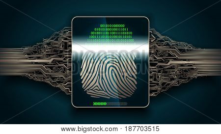 fingerprint scanning - digital security system access, biometric
