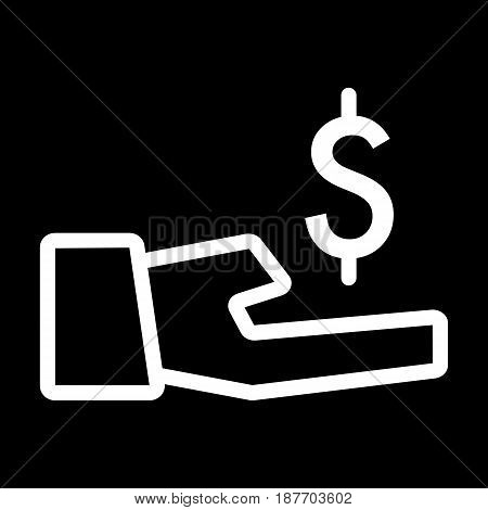 dollar in hand vector icon. Black and white money illustration. Contour linear banking icon. eps 10
