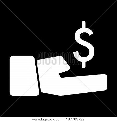 dollar in hand vector icon. Black and white money illustration. Solid linear banking icon. eps 10