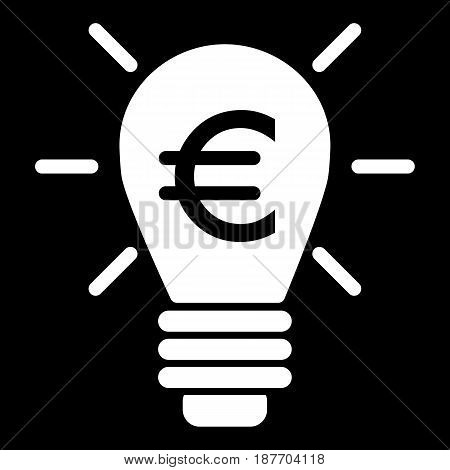 Lighting bulb and euro vector icon. Black and white euro illustration. Solid linear money icon. eps 10