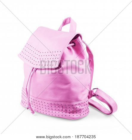 Pink backpack isolated on white background Pocket, Contemporary, Fashionable