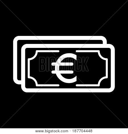 Money euro vector icon. Black and white cash illustration. Outline linear banking icon. eps 10