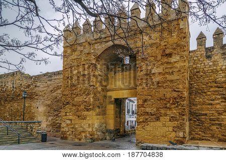 The Almodovar Gate in ancient City Walls in Cordoba Spain