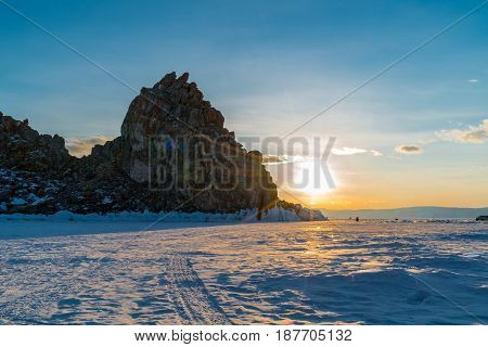 View of sunset at Sacred Shamankha on Olkhon Island in Lake Baikal Russia