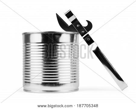 Open aluminum canned food isolate on white background