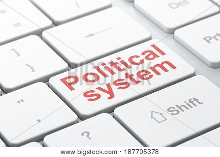 Politics concept: computer keyboard with word Political System, selected focus on enter button background, 3D rendering
