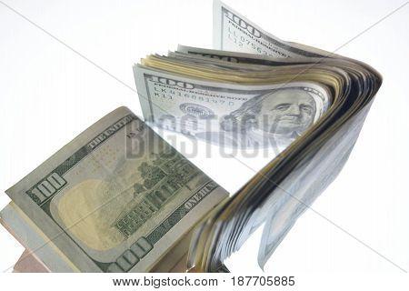 Money isolated on white background, cash, dollars, business