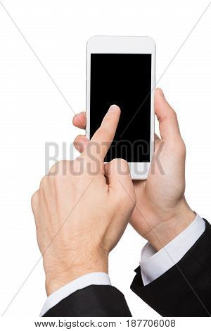 Touch screen. Businessman hand point on mobile phone display, cutout. Man with modern smartphone, white isolated background, copy space
