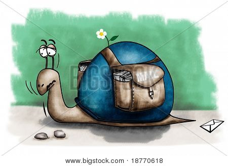 cartoon illustration of a slow snail with postal mail