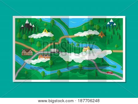 Suburban paper map with houses with car, trees, road, river, mountain, sky and clouds. GPS and navigation. Village. Vector illustration in flat style