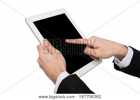 Businessman touch screen of tablet, cutout. Man with modern smartphone, white isolated background, copy space