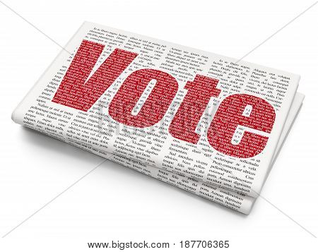 Political concept: Pixelated red text Vote on Newspaper background, 3D rendering