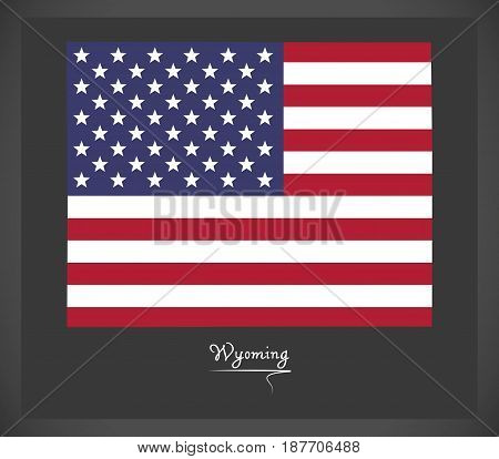 Wyoming Map With American National Flag Illustration