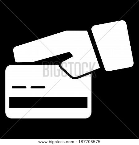Credit card in hand vector icon. Black and white card illustration. Solid linear icon. eps 10