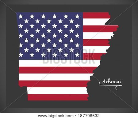 Arkansas Map With American National Flag Illustration
