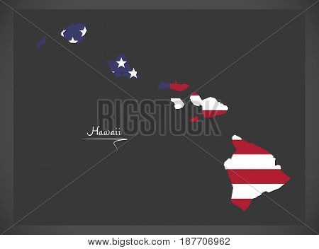 Hawaii Map With American National Flag Illustration