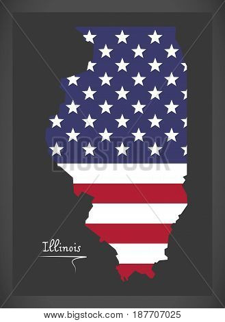 Illinois Map With American National Flag Illustration