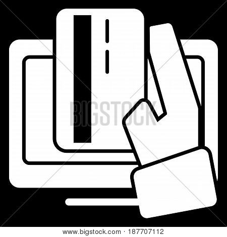 Online banking vector icon. Black and white internet payment illustration. Solid linear icon. eps 10