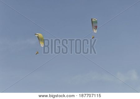 Bellaria Italy - June 05 2016: View of two powered paraglider on the sky