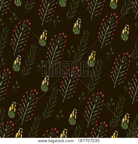 Embroidery Stitches With Roses Meadow Flowers Dragonflies. Hand Drawn Vector Fashion Seamless Pattern On Black Background. For Fabric Textile Decoration.