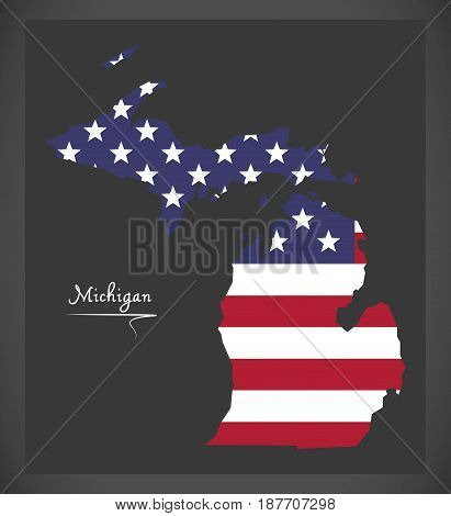 Michigan Map With American National Flag Illustration