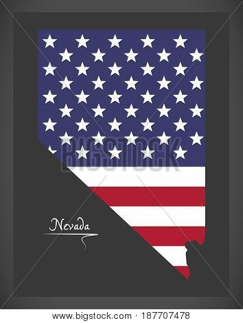 Nevada Map With American National Flag Illustration