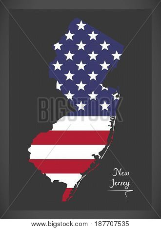 New Jersey Map With American National Flag Illustration