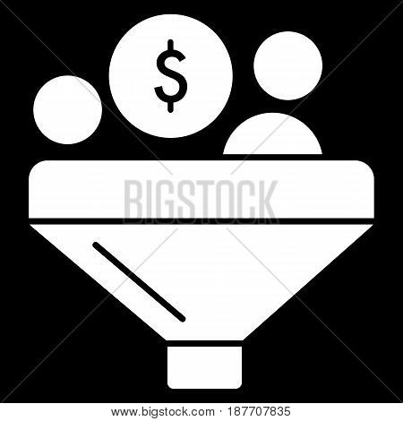 Conversion dollar vector icon. Black and white funnel and money illustration. Solid linear finance icon. eps 10