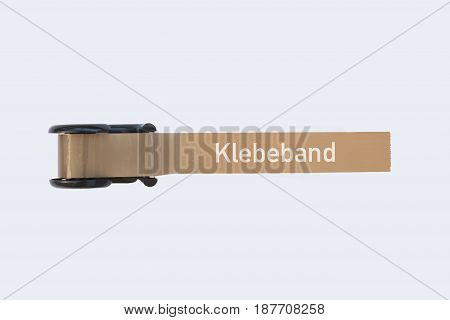 Adhesive tape and tape dispenser and the german word for adhesive tape, isolated on white
