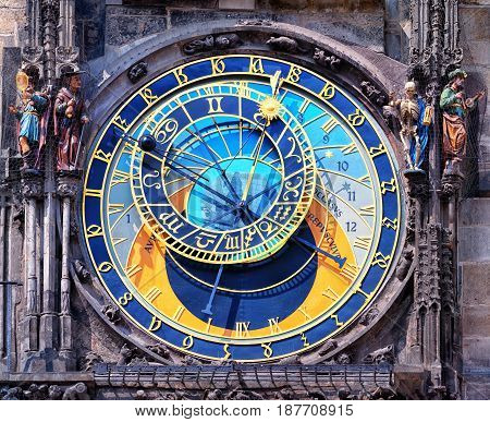 Famous astronomical clock astronomical clock with chimes and sculptures in Prague