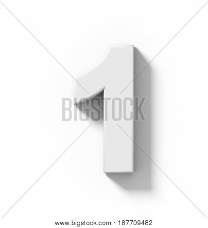 Number 1 3D White Isolated On White With Shadow - Orthogonal Projection