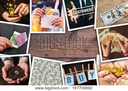 Business and entrepreneurship photo collage over woodem office desk background