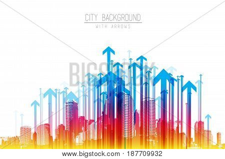 Cityscape with skyscrapers and colorful arrow pattern.
