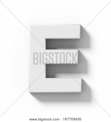 Letter E 3D White Isolated On White With Shadow - Orthogonal Projection