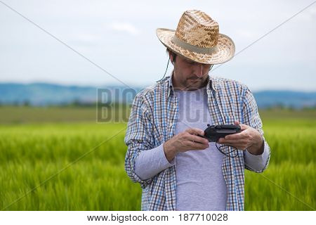 Smart farming concept farmer using drone remote controller to navigate aircraft in cultivated field and examine crops