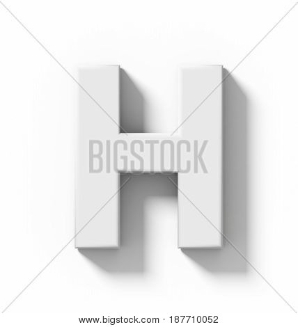 Letter H 3D White Isolated On White With Shadow - Orthogonal Projection