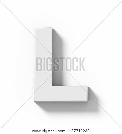 Letter L 3D White Isolated On White With Shadow - Orthogonal Projection