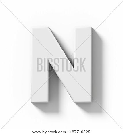 Letter N 3D White Isolated On White With Shadow - Orthogonal Projection