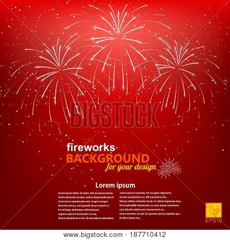 Christmas background with a picture of fireworks