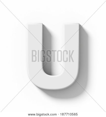 Letter U 3D White Isolated On White With Shadow - Orthogonal Projection