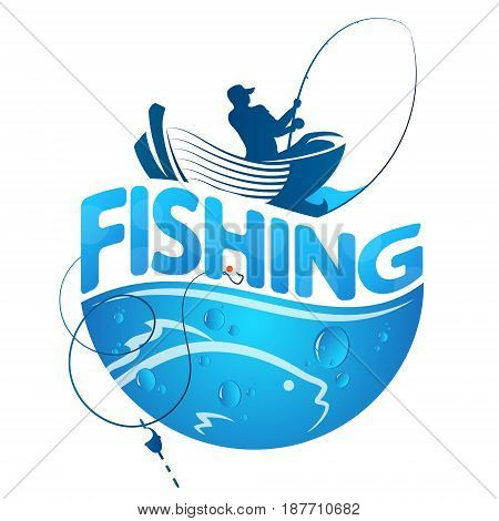 Fisherman in a boat and fish design