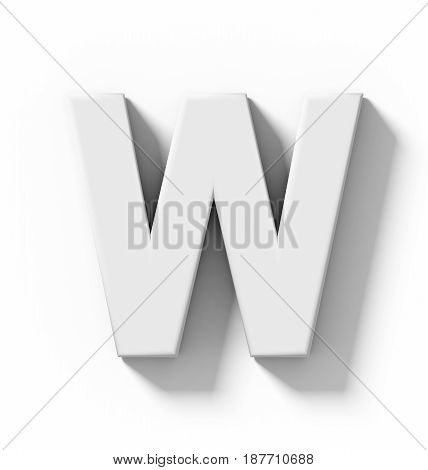 Letter W 3D White Isolated On White With Shadow - Orthogonal Projection