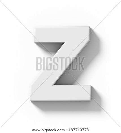 Letter Z 3D White Isolated On White With Shadow - Orthogonal Projection