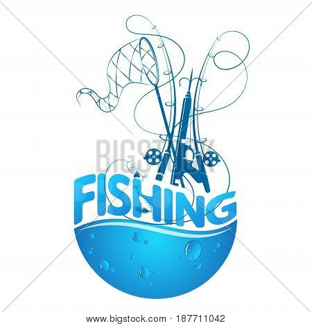 Fishing design silhouette with fishing rods and water drops