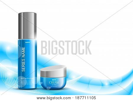 Skin moisturizer cosmetic design template with blue realistic packages on wavy soft light lines background. Vector illustration